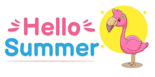 Flamant rose mignon avec bannière de voeux d'été
