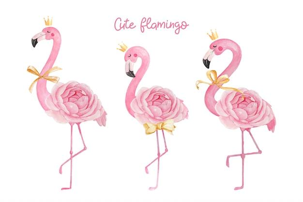 Flamant rose mignon avec couronne, ruban et fleur rose renoncule.