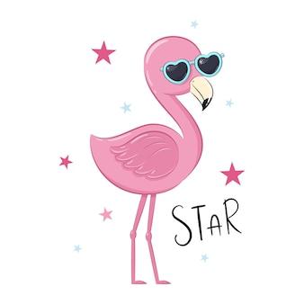 Flamant rose mignon avec des étoiles. illustration.