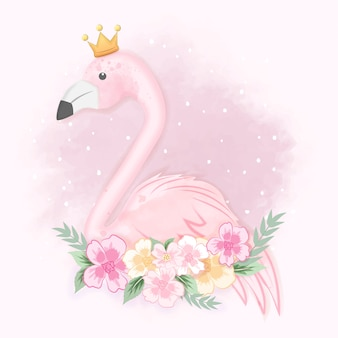Flamant rose mignon avec des fleurs