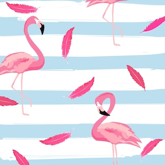 Flamant rose et plumes avec rayures sans soudure de fond