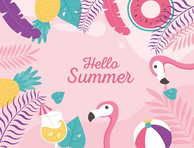 Flamants roses cocktail ballon de plage flottent feuilles tropicales exotiques, bonjour illustration de lettrage d'été