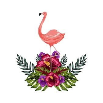 Flamengo avec illustration de fleurs tropicales