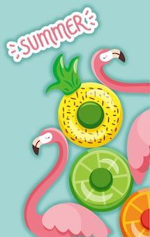 Flamingo et anneau de natation en été
