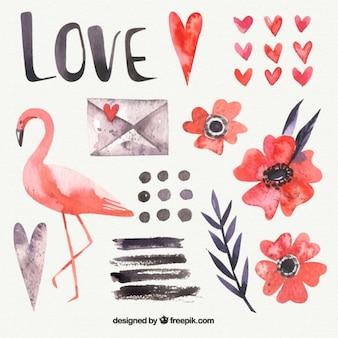 Flamingo aquarelle et éléments d'amour