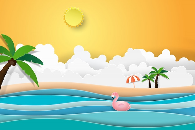 Flamingo boat sur le paysage océanique avec coucher de soleil.