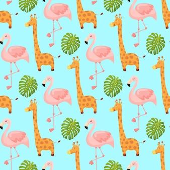 Flamingo et girafe mignon seamless pattern animal summer wallpaper background