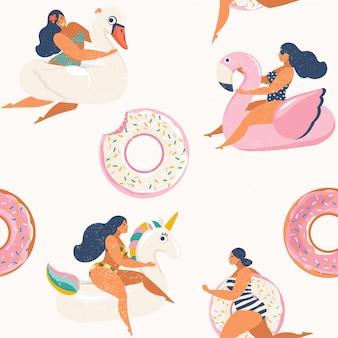 Flamingo, licorne, cygne et flotteur gonflable de donut de flotteur doux.