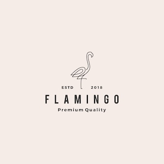 Flamingo logo vectoriel ligne contour monoline icône illustration