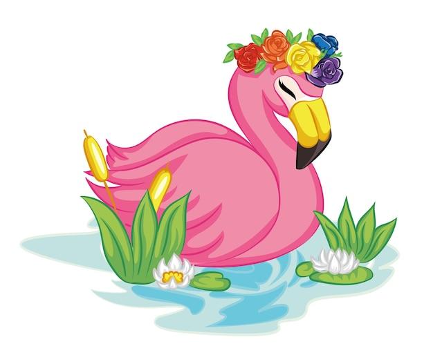 Flamingo nageant sur l'illustration de l'eau.