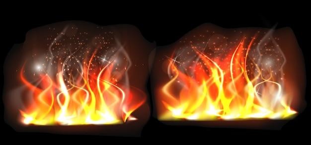 Flamme brûlante 3d réaliste sur fond noir