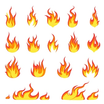 Flamme de feu de dessin animé. image des incendies, allumage à chaud, explosion de chaleur inflammable, flamme, concept énergétique