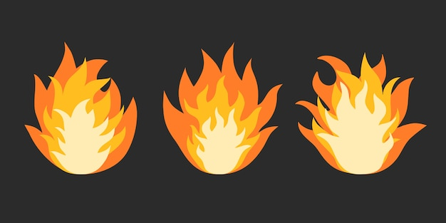 Flamme de feu de dessin animé isolée sur fond noir.