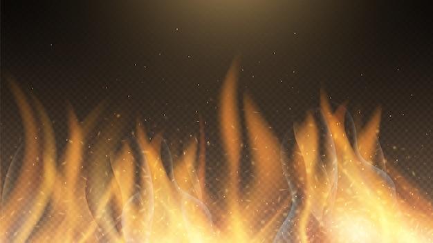 Flamme de feu. fond d'effet de feu de vecteur. toile de fond rouge brûlant des étincelles