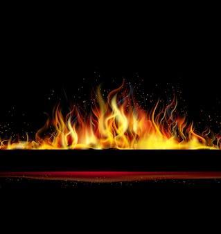 Flamme de feu sur fond noir