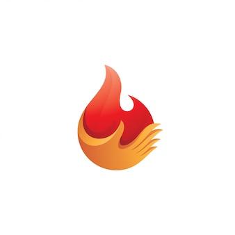 Flamme de feu et logo de doigt de main