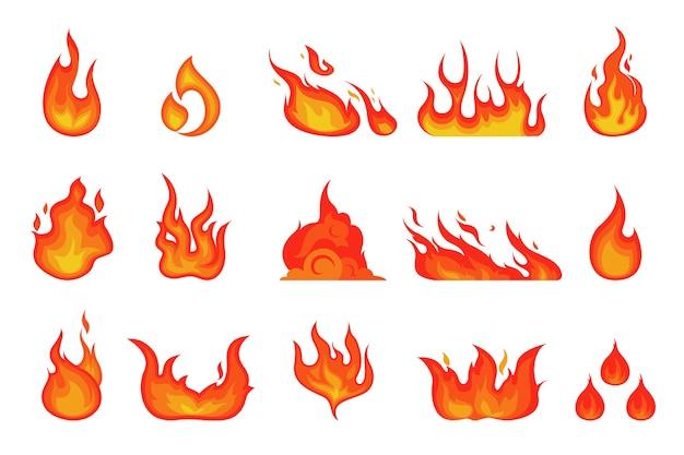 Flamme de feu rouge et orange. élément flamboyant chaud