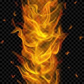Flamme de feu translucide avec répétition verticale transparente sur fond transparent