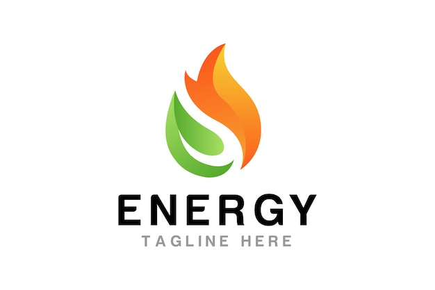 Flamme avec feuille modèle de conception de logo
