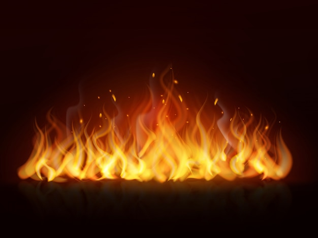 Flamme réaliste. mur brûlant de feu brûlant, feu chaud de cheminée, effet de flammes rouges de feu de joie. fond flamboyant