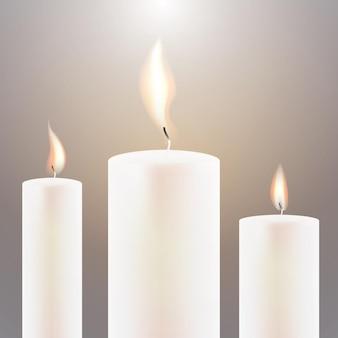Flamme de trois bougies. illustration vectorielle.