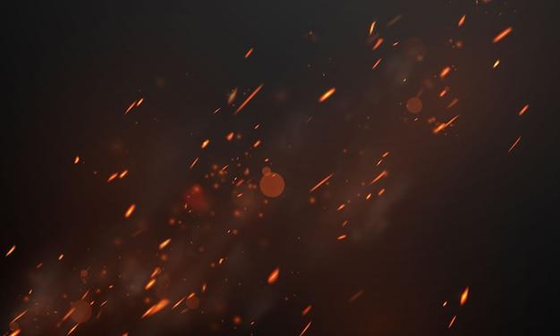 Flammes de feu brûlant des étincelles chaudes rouges fond abstrait réaliste