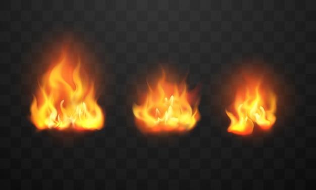 Flammes de feu brûlant des étincelles chaudes rouges réalistes