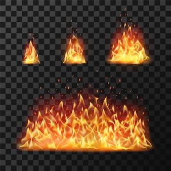 Flammes de feu brûlantes ou boule de feu enflammée