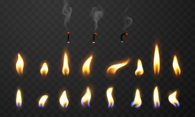 Flammes de feu brûler des étincelles chaudes réalistes