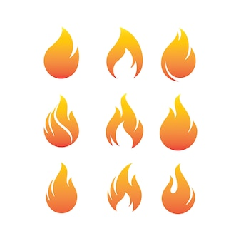 Flammes de feu, définir logo design inspiration vector icons