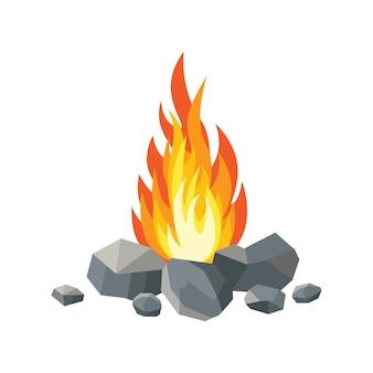 Flammes de feu de dessin animé, feu de joie, feu de camp sur fond.