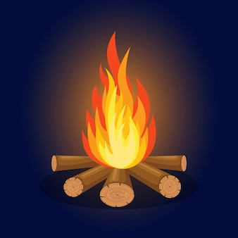 Flammes de feu de dessin animé, feu de joie, feu de camp isolé sur fond.