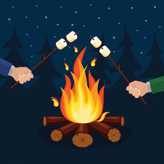 Flammes de feu de dessin animé, feu de joie, feu de camp isolé