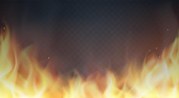 Flammes de feu sur fond transparent