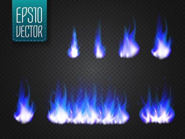 Flammes de feu isolées sur un effet de lumière spécial transparent