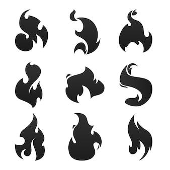 Flammes de feu noir