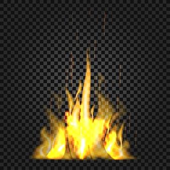Flammes de feu réalistes sur fond noir