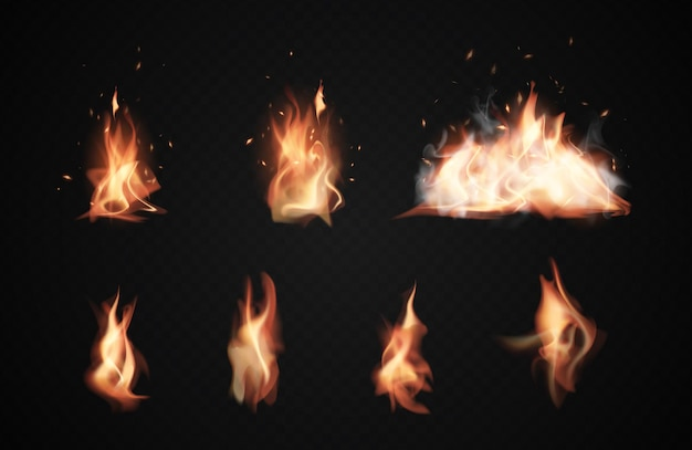 Flammes de feu réalistes, icônes brûlantes sur fond noir transparent