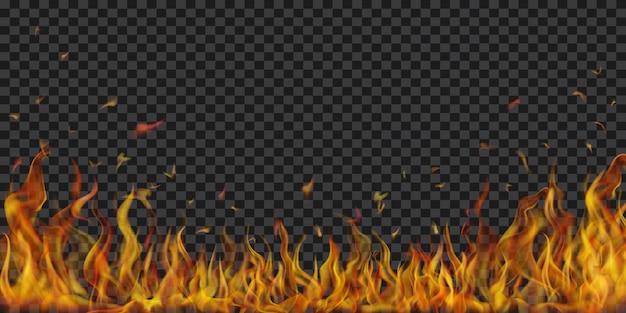 Flammes de feu translucides et étincelles sur fond transparent. à utiliser sur des illustrations sombres. transparence uniquement en format vectoriel