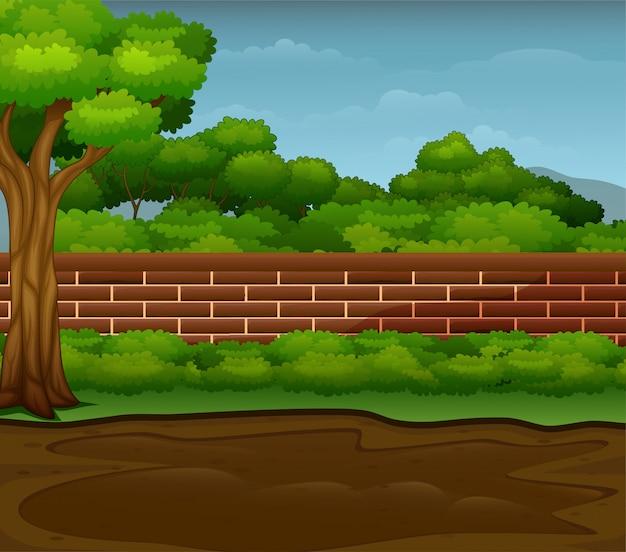 Flaque boueuse au sol avec paysage naturel