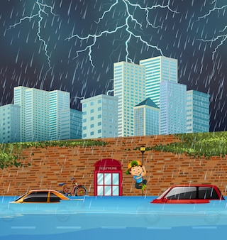 Flash crue dans la grande ville