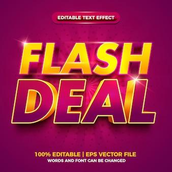 Flash deal violet or gras effet de texte modifiable en 3d