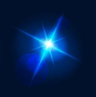 Flash lumière rougeoyante lens flare et éclater les rayons bleus néon étoiles avec illusion magique transparente de vecteur