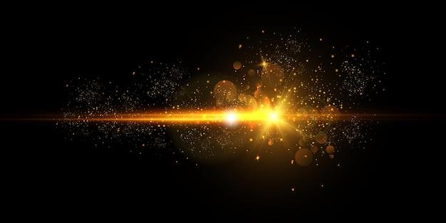 Flash lumineux avec des reflets d'objectif et des rayons