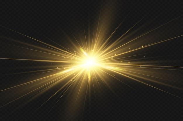Flash d'objectif spécial, effet de lumière. le flash fait clignoter les rayons et le projecteur. illust.lumière rougeoyante blanche. belle étoile lumière des rayons. le soleil est rétroéclairé. belle étoile brillante. lumière du soleil. éblouissement.