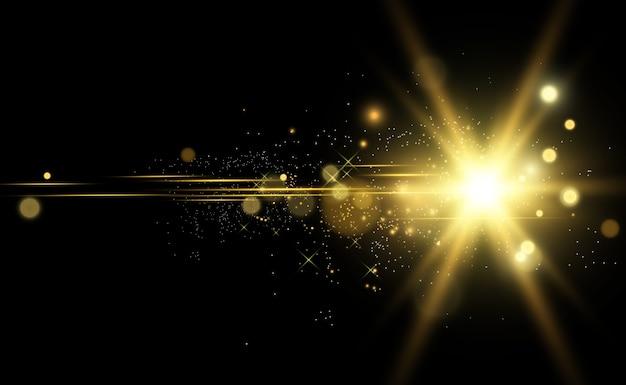 Flash d'objectif spécial, effet lumineux. le flash fait clignoter les rayons et le projecteur. illust.white lumière rougeoyante. belle étoile lumière des rayons. le soleil est rétroéclairé. belle étoile brillante. lumière du soleil. éblouissement.