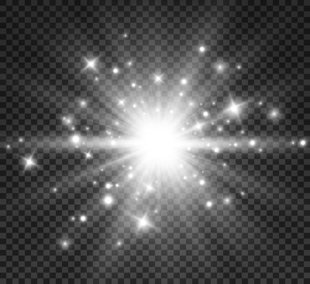 Flash d'objectif spécial, effet lumineux. le flash fait clignoter les rayons et le projecteur. illust.white lumière rougeoyante.