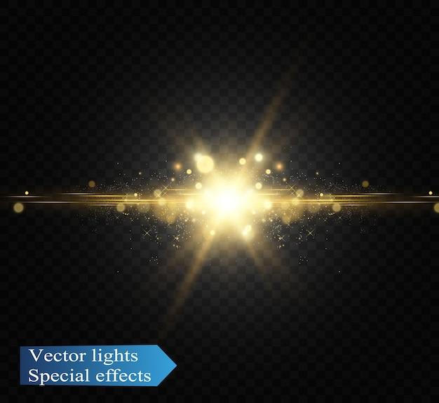 Flash d'objectif spécial, effet lumineux. le flash fait clignoter les rayons et le projecteur.