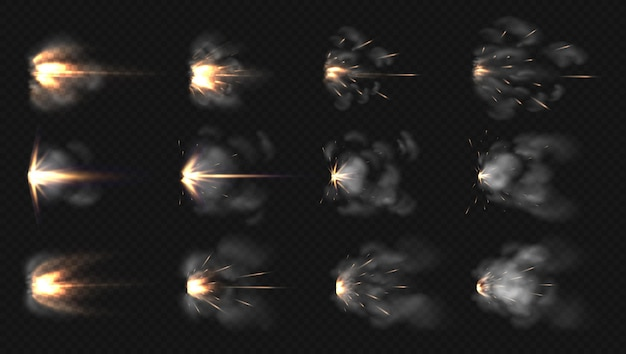 Flash de pistolet. flash de museau réaliste et effets spéciaux de feu et de fumée de fusil de chasse.