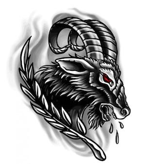 Flash de tatouage de chèvre traditionnelle néo